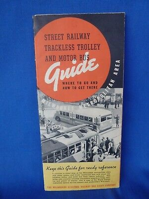 Vintage 1936 Milwaukee Electric Railway & Light Co TRANSIT GUIDE Trolley Bus Map