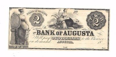 1800's $2 Bank Of Augusta State Of Georgia Obsolete Currency