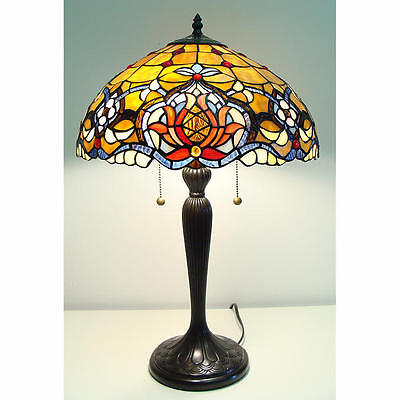 Table Lamp Stained Glass Shade 636 Pieces Vintage Bronze Finished Base