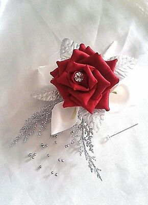 Red Rose Christmas Artificial Sparkly Wedding Pin Corsage Lilies Sparkly Foliage
