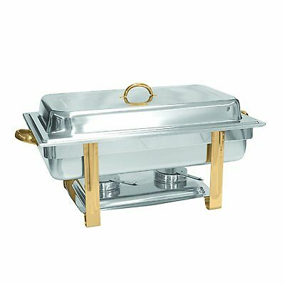Excellante Stainless Steel 8-Quart Gold Accented Oblong Chafer, Chafing Dish