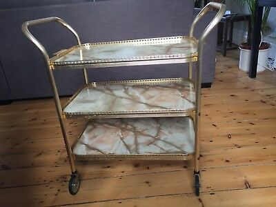 Retro Vintage 1970 ThreeTier Gold Metal And Marble Effect Drinks/Serving Trolley