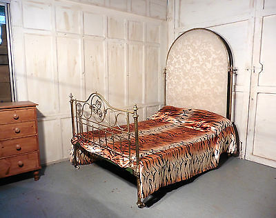 Spectacular Victorian Art Nouveau Brass Double Bed