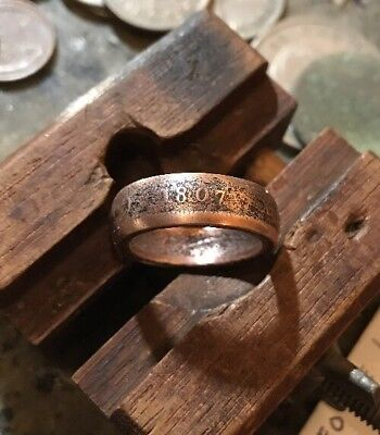 1807 George III British Penny Coin Ring | Copper Patina | Size8 Handmade