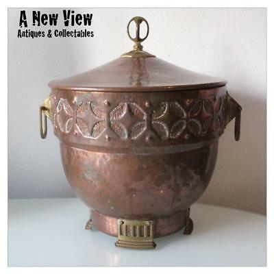Arts & Crafts Art Nouveau Brass Copper Large Bucket Bowl.1900's