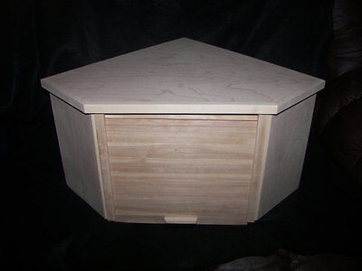 Unfinished Birch Corner Bread Box With Roll Up Door