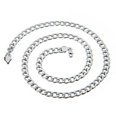 7MM MENS Boys Chain Silver Tone Curb Link Stainless Steel Necklace 24'' Jewelry