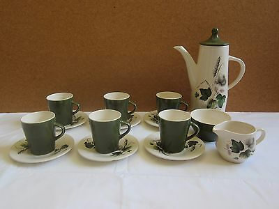 Vintage Coffee set Royal Worcester 'Shadow Rose' Retro 1950's Wedding china 15