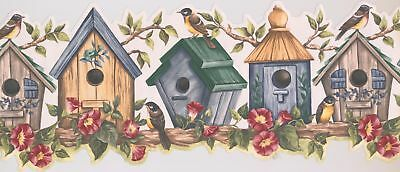 Birds on Bird Houses with Floral Design Animal 15' x 10'' Wallpaper Border