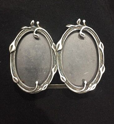 Vintage Miniature Deco Style Solid Silver 925 Double Photo Frame