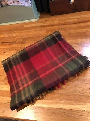 Barbour 100% Lambswool Red/Green Tartan Scarf Fringed