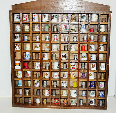 Vintage Collection of Mixed Thimbles with Display Case