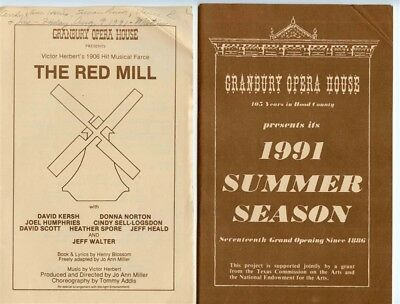 Granbury Opera House 1991 Summer Season Booklet And The Red Mill Program