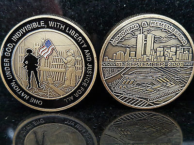 911 ONE NATION Coin Eagle September 11th New York City United we Stand Man USA