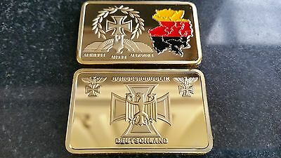 Map German Empire unity freedom gold Iron cross WWI WWII territory flag bar coin