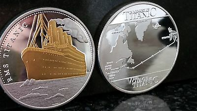 Rms Titanic Boat Ship Gold And Silver Plated Commemorative Coin Route