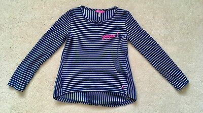 Great Cond Girls Classic JOULES Navy Striped Long Sleeve Winter Top Age 7-8 Yrs