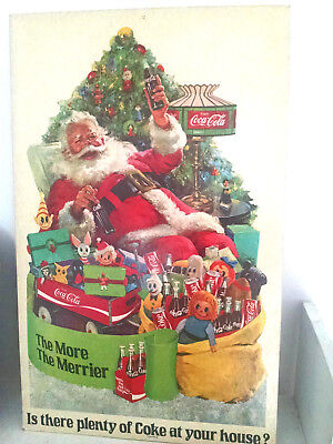 Coca-Cola SANTA Cardboard Sign-Poster-Stand-up DOUBLE SIDED-easel back -26 x 16