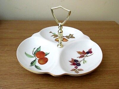 Royal Worcester Triple Canape Dish With Handle : Evesham.