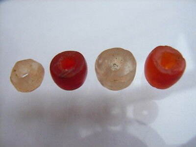 4 Ancient Neolithic Carnelian, Rock Crystal Beads, Stone Age, VERY RARE!