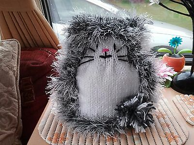 hand knitted fluffy cat tea cosy