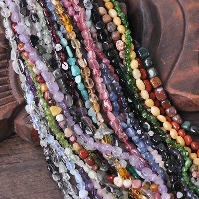 "5-8mm 15"" Natural Freeform Stone Chips beads strand gemstones Jewelry Making DIY"