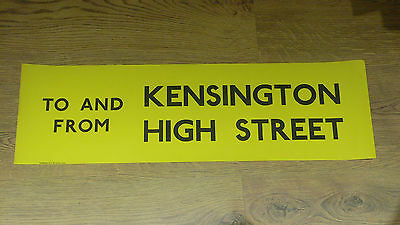 London Transport Routemaster Bus Slipboard Poster - TO & FROM KENSINGTON HIGH ST