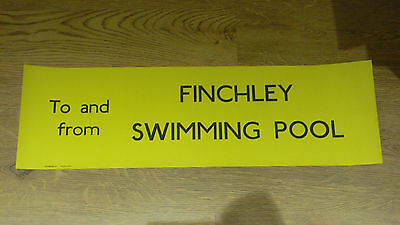 London Transport Routemaster Bus Slipboard Poster - FINCHLEY SWIMMING POOL