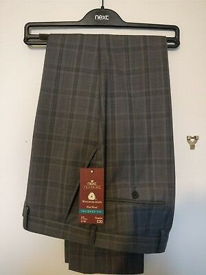 Next Mens Suit Trousers 34R Dark Grey Check BNWT £50 RRP