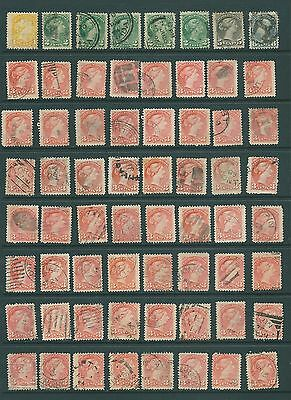 CANADA - 1870 Queen Victoria stamps - study material postmarks/shades - lot C