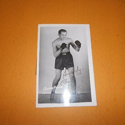 Charley Fusari was an Italian-American boxer Hand Signed 1947 Mailed Postcard