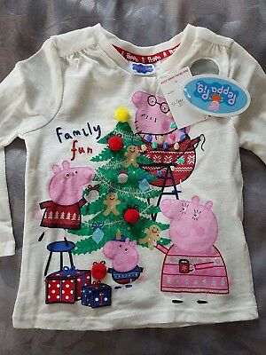Baby Girl Peppa Pig Christmas Top 12-18 M Brand New