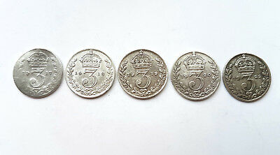 Job Lot x 5 Silver 3 Pence Coins (002)