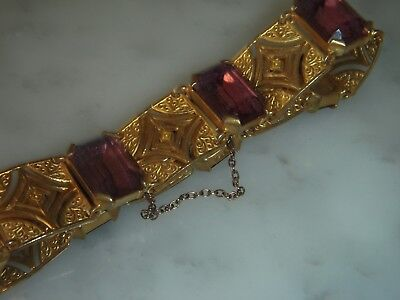 A Beautiful Vintage Purple Stone Hinged Bracelet And Safety Chain