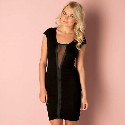 Ladies Black Soft Jersey Dress With Mesh Panel In Size 10 From Rare Bnwt