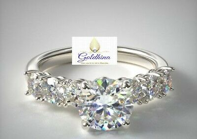 1.50 Ctw 14K White Gold Over Pave 7 Stone Diamond Engagement Ring Size 4-13