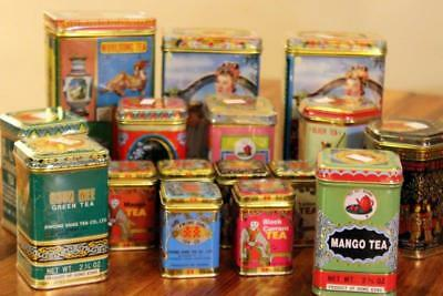 Chinese Advertising KWONG SANG TEA CO LOT Unopened Full 15 Tin Canisters NOS