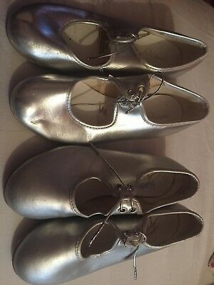 2 Pairs Of Silver Tap Shoes  size 12 &13