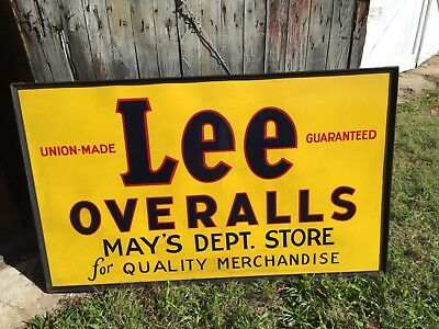 Lee overalls Union Made 3'x5' Tin Framed Embossd Sign New Never Used