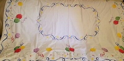 Beautiful Vintage Hand-Embroidered Tablecloth Balloons