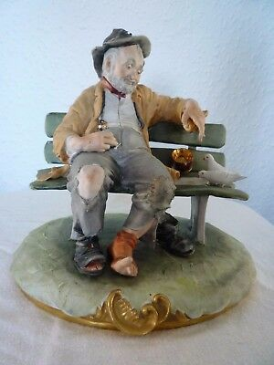 Large Capodimonte Porcelain Tramp On Bench Feeding Birds Figurine