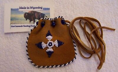 Hand Made Small Beaded Medicine Pouch Rendezvous Black Powder Mountain Man