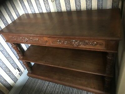 Oak Buffet with three surfaces and a solid back to middle And Bottom Shelves