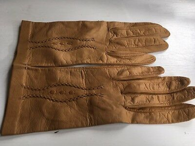 Vintage Light Caramel Brown Leather Gloves with Stitched Detail - Small