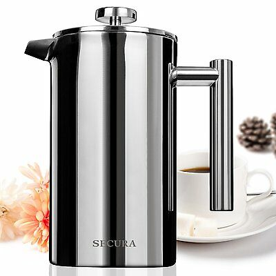 French Press Coffee Maker, Stainless Steel 18/10, 34 oz / 1 liter