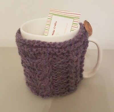 Hand Knitted Aran Mug Cosy - Purple Heather