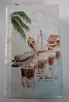 Vintage Signed Limoges Flask French Decanter-Hand Painted Fish & Pelican EUC NR