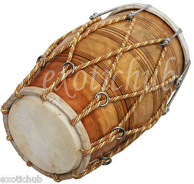 Special Dholak Drum Rope + Bolt Tuned~Natural Wood Color Polish~Hand Made Indian