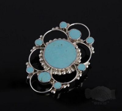 Native American Indian Sterling Silver Turquoise Pin Pendant Brooch Signed