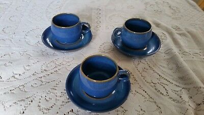 Three Denby Imperial Blue Tea Cups And Saucers
